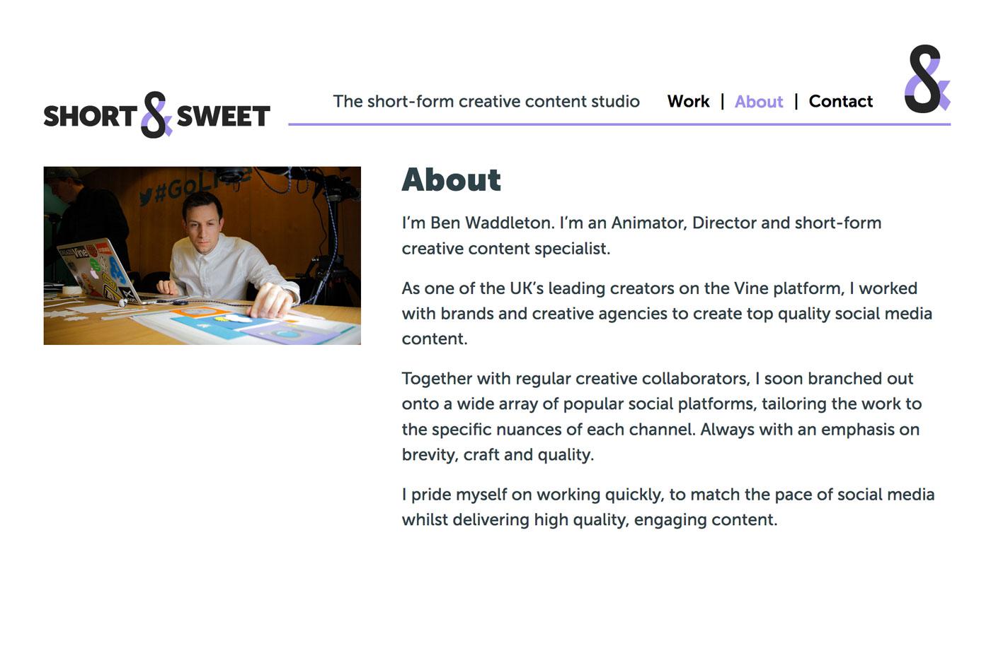 Ben Byford>Short & Sweet studio</Ben Byford>