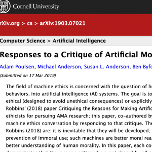 Responses to a Critique of Artificial Moral Agents